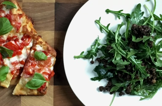 crop pizza and salad